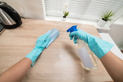 Person Hands Cleaning Kitchen Worktop